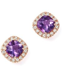 Bloomingdale's - Amethyst Cushion Cut And Diamond Stud Earrings In 14k Rose Gold - Lyst