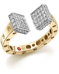Roberto Coin - 18k White And Yellow Gold Pois Moi Chiodo Ring With Diamonds - Lyst