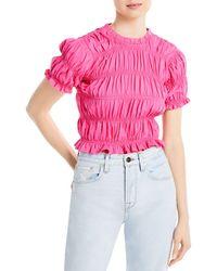 Aqua Ruched Short Sleeve Top - Pink