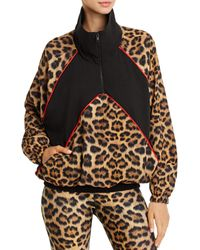 Terez Leopard Blocked Quarter-zip Wind-resistant Jacket - Multicolor