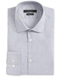 John Varvatos Wrinkle - Resistant Micro Check Regular Fit Dress Shirt - Blue