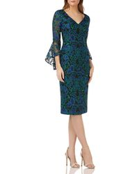 Carmen Marc Valvo - Infusion Bell-sleeve Lace Dress - Lyst