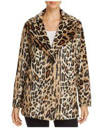 Kenneth Cole - Leopard Print Faux Fur Coat - Lyst