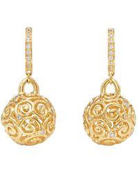 Temple St. Clair - 18k Yellow Gold Lattice Diamond Drop Earrings - Lyst