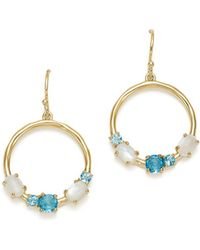 Ippolita - 18k Yellow Gold Rock Candy® Blue Topaz & Mother-of-pearl Doublet Circle Drop Earrings In Raindrop - Lyst