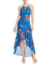 Parker Davina Floral High/low Dress - Blue