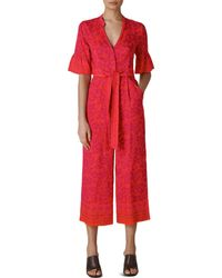 Whistles Henna - Print Cropped Jumpsuit - Red