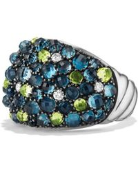 David Yurman - Cable Berries Dome Ring With Hampton Blue Topaz - Lyst