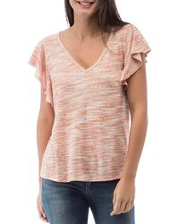 B Collection By Bobeau Tenley Printed Flutter - Sleeve Top - Pink