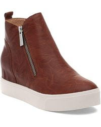 J/Slides Sky Almond Toe Leather Trainer Booties - Brown