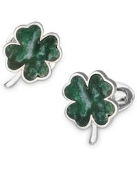 Jan Leslie Sterling Silver & Green Onyx Four - Leaf Clover Cufflinks