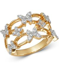 Bloomingdale's Diamond Butterfly Cocktail Ring In 14k Yellow Gold - Metallic
