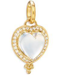 Temple St. Clair 18k Rock Crystal & Diamond Heart Pendant - Metallic