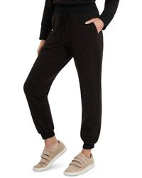 Vince Camuto Cosy Animal Print Joggers - Brown