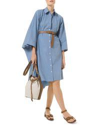 Michael Kors Michael Cotton Dolman Sleeve Shirt Dress - Blue