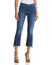 Mother Insider Step-hem Cropped Flared Jeans In The Royal Treatment - Blue