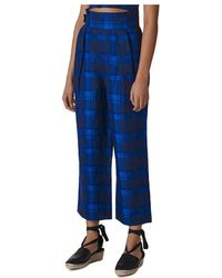 Whistles Plaid Cropped Trousers - Blue