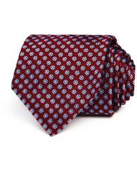 Canali Circle Square Medallion Classic Tie - Red