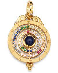 Temple St. Clair 18k Yellow Gold Tolomeo Three Ring Multicolour Sapphire & Diamond Pendant - Metallic