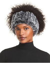 Surell Rex Rabbit Faux Fur Knit Headband - Black