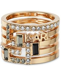 Karl Lagerfeld Boucle Faux Stack Ring - Metallic