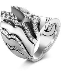 John Hardy Sterling Silver White & Grey Diamond Saddle Ring - Metallic