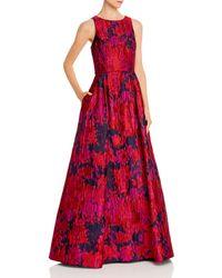 Aidan Mattox Floral Brocade Gown - Red