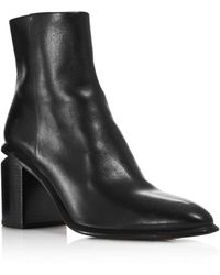 Alexander Wang Anna Block-heel Leather Booties - Rhodium-tone Hardware - Black