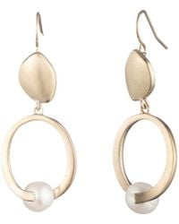 Carolee - Gold-tone & Freshwater Pearl (8mm) Sculptural Double Drop Earrings - Lyst