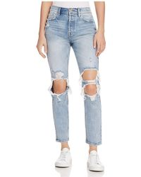 Pistola - Mom High-rise Distressed Straight-leg Jeans In Up In Flames - Lyst