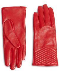 Karen Millen Quilted Gloves - Red