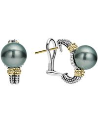 Lagos - 18k Gold And Sterling Silver Luna Cultured Freshwater Black Pearl Huggie Earrings - Lyst