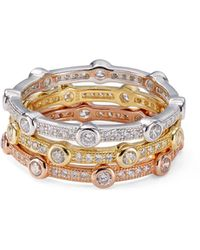 Aqua Stackable Multicolor Pavé Rings In Platinum - Plated Sterling Silver - Natural