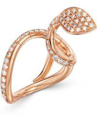 Pasquale Bruni 18k Rose Gold Champagne & White Diamond Snake Ring - Metallic