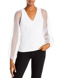 Aqua Sheer Puffed - Sleeve Top - White