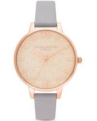 Olivia Burton Glitter Dial Grey Lilac Leather Strap Watch - Metallic