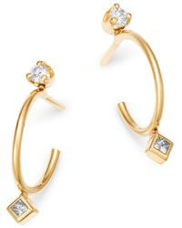 Zoe Chicco 14k Yellow Gold Round & Princess Diamond Bezel Thin Huggie Earrings - Metallic