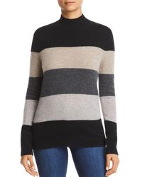 C By Bloomingdale's Striped Mock - Neck Cashmere Sweater - Multicolor