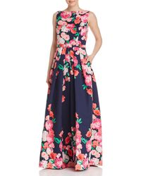 Eliza J - Floral Belted Ball Gown - Lyst