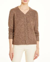 Lafayette 148 New York Braided Cable Cashmere & Silk Jumper - Brown