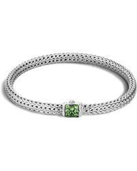 John Hardy - Classic Chain Sterling Silver Lava Extra Small Bracelet With Tsavorite - Lyst