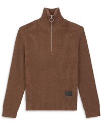 The Kooples Funnel Neck Zip Sweater - Brown