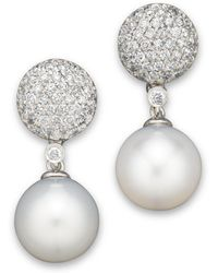 Bloomingdale's - Cultured White South Sea Pearl And Diamond Drop Earrings In 14k White Gold - Lyst