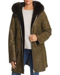 Maximilian Reversible Lamb Shearling Coat With Fox Fur Trim - Green