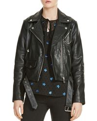 Maje - Bassung Belted Leather Motorcycle Jacket - Lyst