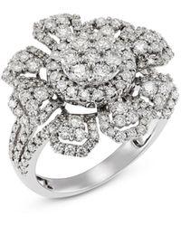 Bloomingdale's Diamond Flower Cluster Ring In 14k White Gold - Metallic
