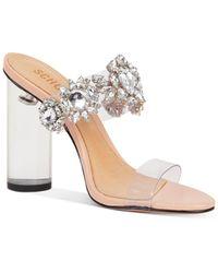 Schutz Women's Blanck Crystal Embellished Clear Block Heel Sandals - Multicolour