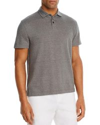 Bloomingdale's Linen - Blend Textured Stripe Classic Fit Polo Shirt - Gray