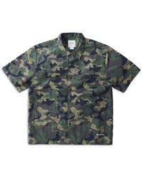 Gramicci Shell Nylon Dwr Regular Fit Button Up Camp Shirt - Green