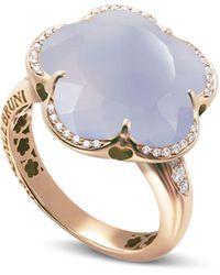 Pasquale Bruni - 18k Rose Gold Bon Ton Floral Blue Chalcedony & Diamond Ring - Lyst